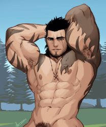 Rule 34   1boy, abs, arm tattoo, armpit hair, armpits, arms up, bara, beard, biceps, black hair, chest tattoo, completely nude, cross, cross necklace, facial hair, final fantasy, final fantasy xv, gladiolus amicitia, highres, jewelry, large pectorals, male focus, male pubic hair, mature male, muscular, muscular male, navel, necklace, nipples, nude, out-of-frame censoring, pubic hair, reward available, scar, scar across eye, short hair, smile, solo, stomach, stubble, tattoo, whyhelbram