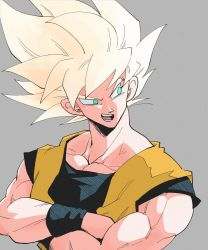 1boy, bare arms, blonde hair, commentary request, copyright request, crossed arms, dougi, dragon ball, green eyes, grey background, kz (dbz kz), looking away, looking to the side, male focus, muscular, muscular male, no pupils, open mouth, pectorals, raised eyebrow, sharp teeth, simple background, sleeveless, solo, son gokuu, spiked hair, super saiyan, teeth, upper body, wristband