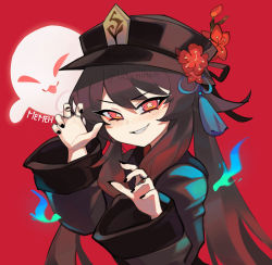 1girl, artist name, black coat, black headwear, black nails, blue fire, blush, brown hair, chinese clothes, coat, commentary, english commentary, eyebrows visible through hair, fang, fire, flower, genshin impact, ghost, hair between eyes, hat, hat flower, hu tao, jewelry, lazymimium, long hair, long sleeves, looking at viewer, nail, nail polish, parted lips, plum blossoms, red background, red eyes, red flower, ring, signature, simple background, smile, solo, symbol-shaped pupils, teeth, twitter username, very long hair, watermark, wide sleeves