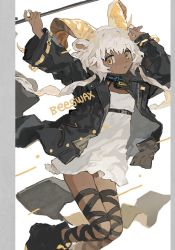 1girl, animal ears, arknights, beeswax (arknights), black footwear, black jacket, character name, collar, dark-skinned female, dark skin, dress, foot out of frame, goat ears, goat girl, goat horns, hands up, highres, holding, holding staff, horns, infection monitor (arknights), jacket, looking at viewer, namottttt, open clothes, open jacket, solo, staff, white background, white dress, white hair, yellow eyes