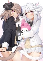 2girls, animal ears, arm behind back, ass, bangs, black bow, black horns, black jacket, black skirt, blush, bow, breasts, brown hair, cat ears, cat girl, cat tail, closed mouth, cowboy shot, demon horns, doll hug, eyebrows visible through hair, facial mark, final fantasy, final fantasy xiv, grin, highres, horns, intertwined tails, jacket, kuromi, long sleeves, looking at viewer, medium breasts, medium hair, miniskirt, miqo'te, multiple girls, my melody, object hug, onegai my melody, open clothes, open jacket, pink eyes, pleated skirt, signature, skirt, slit pupils, smile, stuffed animal, stuffed toy, tail, vest, white horns, white jacket, white skirt, yana mori