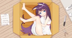 1girl, absurdres, animal ear fluff, animal ears, barefoot, black hair, blue eyes, box, cardboard box, city cat, dress, fox ears, fox tail, from above, highres, in box, in container, knees to chest, knife, legs, long hair, looking at viewer, looking up, lying, on side, original, scissors, short dress, solo, sundress, tail, tail hug, thighs, toes, white dress