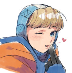 1girl, apex legends, bangs, blonde hair, blowing kiss, blue eyes, gloves, heart, hood, hood up, husagin, jacket, light blush, looking at viewer, looking to the side, one eye closed, open mouth, orange jacket, solo, upper body, wattson (apex legends), white background