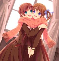2girls, braid, brown hair, curtains, frilled scarf, fukuzawa yumi, green eyes, hand on another's shoulder, hug, iizuka ena, maria-sama ga miteru, multiple girls, open mouth, purple eyes, ribbon, scarf, school uniform, serafuku, shared scarf, shimazu yoshino, skirt, twin braids, twintails, valentine, window, yuri