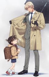 2boys, amuro tooru, backpack, bag, bangs, black-framed eyewear, black footwear, black gloves, black shorts, blonde hair, blue neckwear, breath, brown coat, brown hair, child, closed mouth, coat, collared shirt, commentary request, edogawa conan, eye contact, formal, full body, glasses, gloves, grey background, grey jacket, grey pants, grey suit, hair between eyes, height difference, holding, holding strap, holding umbrella, jacket, k (gear labo), long sleeves, looking at another, looking down, looking up, male focus, meitantei conan, multiple boys, necktie, open clothes, open coat, open mouth, outdoors, pants, plaid, plaid scarf, randoseru, red footwear, red scarf, scarf, school bag, shadow, shirt, shoes, short hair, shorts, simple background, smile, sneakers, snowing, socks, standing, suit, umbrella, white legwear, white shirt