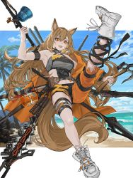 1girl, absurdres, animal ears, arknights, armpits, axe, beach, bell, belt, black ribbon, black shorts, blue sky, bottle, breasts, brown hair, ceobe (arknights), ceobe (summer flowers) (arknights), chains, cloud, cloudy sky, commentary, cross-laced footwear, day, dog ears, dog tail, eyelashes, fangs, full body, grey shirt, hair between eyes, highres, holding, holding weapon, infection monitor (arknights), jacket, knife, knife sheath, leg up, long hair, looking at viewer, medium breasts, midriff, multiple weapons, navel, o-ring, o-ring top, ocean, off shoulder, official alternate costume, open clothes, open jacket, open mouth, orange eyes, orange jacket, orange pants, outdoors, palm tree, pants, polearm, ribbon, sheath, sheathed, shirt, shoes, short shorts, shorts, sky, sleeveless, smile, sneakers, solo, staff, strap, strapless, sword, tail, teeth, thigh strap, torn clothes, torn pants, tree, tubetop, weapon, weapon on back, white footwear, xia oekaki