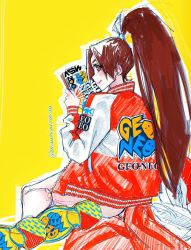 1girl, ass, brown eyes, brown hair, closed mouth, eyelashes, fan, fatal fury, folding fan, hair ribbon, high ponytail, highres, holding, holding fan, jacket, long hair, long sleeves, multicolored footwear, open clothes, open jacket, outline, ponytail, poririna, ribbon, shiranui mai, shoes, sideways mouth, simple background, sitting, smile, solo, the king of fighters, tongue, tongue out, twitter username, unzipped, very long hair, white outline, white ribbon, yellow background, zipper, zipper pull tab