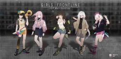 5girls, alternate costume, anti-rain (girls frontline), asymmetrical legwear, belt pouch, cigarette, dsp0355, eyepatch, girls frontline, highres, m16a1 (girls frontline) (boss), m4 sopmod ii (girls frontline), m4 sopmod ii jr, m4a1 (girls frontline), megaphone, miniskirt, multiple girls, pouch, ro635 (girls frontline), scar, scar across eye, shoes, shorts, skirt, sneakers, socks, st ar-15 (girls frontline), thighhighs
