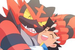 1boy, ash ketchum, brown hair, claws, commentary request, creatures (company), dododo dadada, eyes closed, game freak, gen 7 pokemon, incineroar, male focus, nintendo, open mouth, pokemon, pokemon (anime), pokemon (creature), pokemon swsh (anime), popped collar, shirt, simple background, smile, teeth, tongue, white background, white shirt