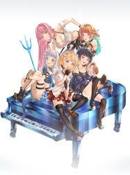 5girls, absurdres, alternate costume, apple, arm between breasts, belt, between breasts, black choker, black gloves, black hair, black pants, blonde hair, blue eyes, blue hair, blush, bra strap, breasts, brown belt, choker, cleavage, collarbone, commentary, crop top, detached sleeves, english commentary, fingerless gloves, flat chest, food, fruit, gawr gura, gloves, gradient hair, green hair, hair ornament, hands together, highres, holding, holding another's leg, holding food, holding fruit, hololive, hololive english, holomyth, honkivampy, instrument, jacket, kneehighs, large breasts, leg hug, leggings, legs crossed, long hair, medium breasts, medium hair, midriff, monocle hair ornament, mori calliope, multicolored hair, multiple girls, navel, ninomae ina'nis, open mouth, orange hair, pants, piano, pink eyes, plaid, plaid skirt, pointy ears, polearm, purple eyes, purple jacket, shirt, silver hair, single legging, skirt, smile, smug, streaked hair, takanashi kiara, tentacle hair, thigh strap, thighhighs, tongue, tongue out, torn clothes, torn legwear, trident, two side up, virtual youtuber, watson amelia, weapon, white shirt