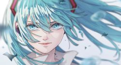 1girl, annoyed, blue eyes, blue hair, blurry, blurry background, close-up, closed mouth, clothes lift, commentary request, crying, depth of field, eyebrows visible through hair, eyelashes, eyes visible through hair, face, floating hair, flying teardrops, frown, grey background, hair between eyes, hatsune miku, headphones, high collar, highres, lips, long eyelashes, long hair, looking at viewer, mele ck, pale skin, sad, shaded face, shiny, shiny hair, sidelighting, sidelocks, simple background, solo, tareme, tears, twintails, upper body, v-shaped eyebrows, vocaloid