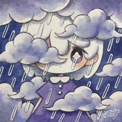 1girl, blush, bright pupils, cloud, dated, dress, explosion, highres, medium hair, one eye covered, original, purple dress, purple eyes, rain, shadow, signature, solo, upper body, white hair, white pupils, zukky000