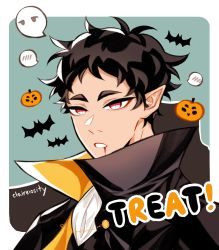 !, 1boy, akaashi keiji, alternate costume, artist name, bat, black cloak, black eyebrows, black hair, black vest, blood, blood from mouth, border, chain, chains, claireiosity, cloak, curly hair, english text, eyebrows, ghost, gold chain, green background, haikyuu!!, half-closed eyes, halloween, halloween costume, highres, jack-o'-lantern, looking at viewer, male focus, open mouth, pointy ears, popped collar, pumpkin, red eyes, shirt, short hair, solo, solo focus, speech bubble, teeth, twitter username, vampire, vest, watermark, white border, white shirt