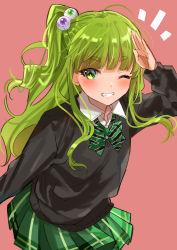 1girl, absurdres, black sweater, borrowed character, collared shirt, eyeball hair ornament, eyebrows visible through hair, green hair, green ribbon, green skirt, highres, long sleeves, neck ribbon, one eye closed, original, osanai (shashaki), plaid, plaid skirt, pleated skirt, ponpon nun, ponytail, ribbon, shirt, simple background, skirt, smile, solo, striped, striped ribbon, sweater, white shirt
