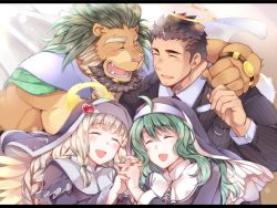2boys, 2girls, :d, animal ears, arsalan (tokyo houkago summoners), beard, black hair, blush, breasts, brown fur, cape, character request, chest hair, couple, eyes closed, eyewear removed, facial hair, fangs, fingernails, formal, furry, green cape, green hair, halo, hand holding, hand on another's shoulder, interlocked fingers, large pectorals, lion boy, lion ears, long hair, male focus, medium hair, multiple boys, multiple girls, muscular, necktie, open mouth, pectorals, sharp fingernails, short hair, smile, striped suit, stubble, tokyo houkago summoners, upper body, veil, veins, yaoi, youzora samo18, zabaniya (tokyo houkago summoners)u