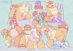 Rule 34   6+boys, 6+girls, ^^^, against wall, arm held back, arm support, artist name, ass, back, bandanna, bangs, bare shoulders, beanie, belly, bitebox64, blue bra, blue legwear, blue skin, boots, bowser, boy on top, bra, bracelet, breasts, breath, brick block, capri pants, captain syrup, claws, cleavage, clitoris, clone, closed mouth, clothed sex, clothes pull, coin, collar, colored skin, crop top, crown, dimples of venus, doggystyle, double cherry, earrings, elbow gloves, empty block, english text, erection, eyelashes, eyes closed, fang, fence, flower earrings, full nelson, garter belt, garter straps, gloves, green bra, green eyes, green hair, green legwear, green skin, grin, group sex, half-closed eye, hand on another's back, hand on another's head, hand on another's shoulder, hands on another's head, hat, heart, heart-shaped pupils, hetero, high heel boots, high heels, horns, indoors, interspecies, jewelry, kneehighs, large insertion, large penis, large testicles, legs up, lips, long hair, looking at another, looking back, looking up, mario (series), mario golf, mario tennis, medium breasts, medium hair, missionary, motion lines, multiple boys, multiple girls, nintendo, nipples, no shoes, nostrils, one eye closed, sound effects, open mouth, orange hair, orgy, panties, panties aside, pants, pants pull, parted lips, pendant, penis, pink hair, pink legwear, pink panties, pink skin, pirate, princess daisy, princess peach, purple bandana, purple pants, purple skin, pussy, queen merelda, raccoon tail, reverse suspended congress, rolling eyes, rosalina, sex, sex from behind, shirt, shoes, shokora-hime, short hair, short shorts, short sleeves, shorts, sitting, size difference, skull, sleeveless, sleeveless shirt, smile, smirk, socks, spiked bracelet, spiked collar, spiked tail, spikes, spread legs, standing, standing sex, star (symbol), straddling, striped, striped panties, super mario 3d world, super mario bros., super mario galaxy, super mario land, symbol-shaped pu