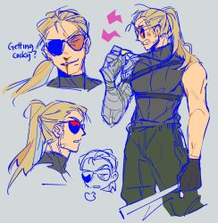 1boy, =3, anger vein, annoyed, black gloves, black shirt, blonde hair, blood, bloody nose, clenched teeth, commentary, english commentary, english text, facial hair, gloves, grey background, head tilt, long hair, male focus, mature male, mechanical arms, metal gear (series), metal gear solid, multiple views, muscular, muscular male, parted lips, partially fingerless gloves, ponytail, profile, prosthesis, prosthetic arm, shimimori, shirt, sigh, simple background, single mechanical arm, sleeveless, smirk, stubble, sunglasses, teeth, tinted eyewear, turtleneck, whistle, whistle around neck