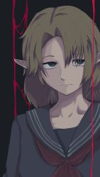 1girl, bangs, black serafuku, blonde hair, closed mouth, commentary request, cookie (touhou), dark background, expressionless, green background, green eyes, highres, joker (cookie), looking at viewer, medium hair, mizuhashi parsee, odoro (nicoseiga81184094), parted bangs, pointy ears, red neckwear, school uniform, serafuku, simple background, solo, touhou, upper body