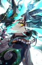 1boy, absurdres, ahoge, armor, artist name, bead necklace, beads, commentary request, constricted pupils, covered face, energy, face, gem, genshin impact, gloves, green hair, half-closed eyes, hand up, highres, holding, holding mask, jewelry, male focus, mask, mimoontk, necklace, one eye covered, refraction, short hair with long locks, shoulder armor, solo, spikes, xiao (genshin impact), yellow eyes