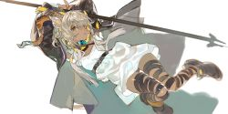 1girl, animal ears, arknights, arms up, beeswax (arknights), black collar, black footwear, black jacket, boots, collar, dark-skinned female, dark skin, dress, full body, goat ears, goat girl, goat horns, holding, holding staff, horns, infection monitor (arknights), jacket, long hair, open clothes, open jacket, qiqu, solo, staff, thigh strap, white background, white dress, white hair, yellow eyes