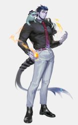 1boy, absurdres, animal, animal on shoulder, bara, beard, black footwear, black shirt, collared shirt, colored skin, cup, dark blue hair, demon boy, demon tail, facial hair, feather boa, fire, formal, full body, hat, highres, holding, holding cup, large pectorals, leather footwear, male focus, monster boy, muscular, muscular male, necktie, necktie between pecs, original, otter, pants, pectorals, pointy ears, powerlesssong, purple legwear, purple skin, red eyes, shiny, shirt, short hair, solo, striped, striped pants, sunglasses, tail, tight shirt, top hat