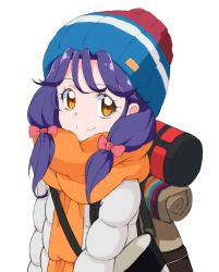 1girl, backpack, bag, bangs, beanie, blue headwear, blush, bow, brown eyes, coat, cosplay, eyebrows visible through hair, hair bow, hanamori yumiri, hat, heart, heart in eye, kagamihara nadeshiko, kagamihara nadeshiko (cosplay), kayabakoro, long hair, looking at viewer, low-tied long hair, low twintails, multicolored, multicolored clothes, multicolored headwear, orange scarf, pink bow, precure, purple hair, red headwear, scarf, seiyuu connection, simple background, sketch, smile, solo, suzumura sango, symbol in eye, tropical-rouge! precure, twintails, upper body, white background, white stripes, winter clothes, winter coat, yurucamp