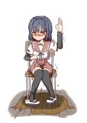 Rule 34   1girl, blue eyes, blue hair, blush, chair, hand up, highres, magia record: mahou shoujo madoka magica gaiden, mahou shoujo madoka magica, nanami yachiyo, ori (pixiv 31473777), peeing, peeing self, puddle, school uniform, solo, trembling, wet, wet clothes