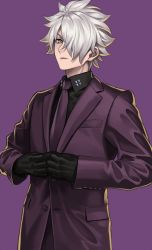 1boy, black shirt, fate/grand order, fate (series), formal, frown, galahad (fate), hair over one eye, looking at viewer, male focus, necktie, purple suit, shirt, short hair, silver hair, simple background, solo, sora yoshitake yuda, suit, upper body, white hair, yellow eyes