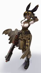 1girl, animal ears, artist name, belt, blue eyes, breasts, bunny ears, bunny girl, cleavage, commentary, commission, dark skin, dark skinned female, final fantasy, final fantasy xiv, goggles, gradient, gradient background, gun, happy, highres, looking at viewer, machinist (final fantasy), rifle, smile, solo, standing, tostantan, viera, weapon
