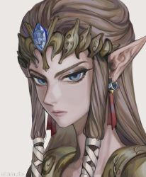 1girl, bibabunie, blue eyes, brown hair, closed mouth, commentary, diadem, earrings, english commentary, grey background, hair ribbon, highres, jewelry, lips, long hair, looking at viewer, nintendo, pointy ears, princess zelda, ribbon, sidelocks, simple background, solo, the legend of zelda, the legend of zelda: twilight princess, tiara, twitter username, upper body