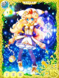 1girl, blonde hair, blue eyes, charlotte (seiken densetsu 3), child, curly hair, hat, jewelry, magic, seiken densetsu, seiken densetsu 3, smile, solo, square enix