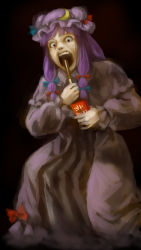 1girl, :o, bangs, blue bow, blue ribbon, blunt bangs, bow, box, commentary request, crescent hat ornament, dark background, dress, eating, fine art parody, food, full body, hair ribbon, hand up, hat, highres, holding, holding box, holding food, holding pocky, horror (theme), kawahagi modoki, long hair, long sleeves, looking at viewer, mob cap, nose, parody, patchouli knowledge, pink eyes, pocky, puffy sleeves, purple capelet, purple dress, purple hair, purple headwear, red bow, red ribbon, ribbon, sanpaku, saturn devouring his son, sidelocks, simple background, solo, standing, teeth, touhou, tress ribbon