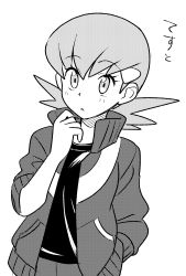 1girl, bad id, bad pixiv id, bangs, creatures (company), devanohundosi, eyebrows visible through hair, eyelashes, game freak, greyscale, gym leader, hair ornament, hairclip, hand up, high collar, highres, jacket, long sleeves, medium hair, monochrome, nintendo, open clothes, open track jacket, parted lips, pocket, pokemon, pokemon adventures, shirt, simple background, solo, track jacket, translation request, white background, whitney (pokemon)