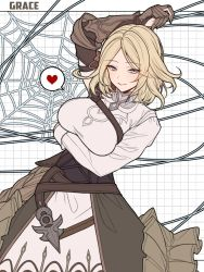 1girl, bangs, belt, blonde hair, blue eyes, blush, breasts, brown gloves, brown skirt, gloves, grace (granblue fantasy), granblue fantasy, heart, highres, large breasts, ll 0109, long sleeves, looking at viewer, parted bangs, shirt, short hair, silk, skirt, smile, spider web, spoken heart, white shirt, wire