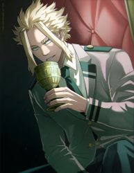 1boy, bangs, black background, black pants, blonde hair, blue eyes, boku no hero academia, collared shirt, commentary, cowboy shot, cup, dutch angle, english commentary, gold, grey jacket, highres, holding, holding cup, jacket, long sleeves, looking at viewer, male focus, necktie, pants, parted lips, school uniform, shirt, short hair, sidelocks, sitting, smile, solo, teeth, trevo (trevoshere), twitter username, u.a. school uniform, white shirt, yagi toshinori, younger