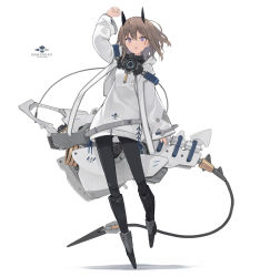 1girl, arm up, armored boots, bangs, black footwear, black legwear, boots, brown hair, eyebrows visible through hair, full body, hair between eyes, headgear, highres, holding, jacket, knee boots, long sleeves, open mouth, original, pantyhose, poco (asahi age), purple eyes, shadow, sleeves past wrists, solo, white background, white jacket, wide sleeves