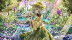 1girl, :d, black headwear, blouse, bouquet, bow, breasts, bug, butterfly, commentary request, daisy, eyeball, feet out of frame, floral print, flower, flower request, frilled shirt collar, frills, garden, green eyes, green hair, green skirt, hat, hat bow, heart, heart of string, highres, holding, holding bouquet, insect, komeiji koishi, light rays, lily pad, medium hair, open mouth, pink flower, piyo (sqn2idm751), purple flower, skirt, small breasts, smile, solo, standing, sunlight, third eye, touhou, tree, water, white flower, wide sleeves, wisteria, yellow blouse, yellow bow, yellow flower