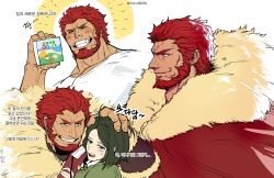 2boys, absurdres, beard, blush, cape, collage, facial hair, fate/zero, fate (series), from side, fur-trimmed cape, fur trim, highres, iskandar (fate), large pectorals, leather, male focus, multiple boys, multiple views, muscular, muscular male, official alternate costume, profile, red cape, red eyes, red hair, shirt, sigppang (2shot00002), smile, t-shirt, translation request, upper body, waver velvet, white shirt