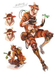 1boy, animal costume, apex legends, black gloves, brown headwear, carrot, clenched hand, fingerless gloves, food, gloves, googly eyes, highres, holding, holding food, iwamoto zerogo, looking down, looking up, mask, multiple views, octane (apex legends), reindeer costume, spinning, squatting, white background