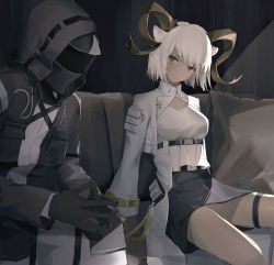 1girl, 1other, absurdres, ambiguous gender, animal ears, arknights, black gloves, black jacket, black skirt, breasts, carnelian (arknights), couch, cowboy shot, cropped jacket, dark-skinned female, dark skin, doctor (arknights), fingers together, gloves, goat ears, goat girl, goat horns, highres, hood, hood up, horns, jacket, looking at viewer, mask, medium breasts, red eyes, shirt, short hair, sitting, skirt, thigh strap, white hair, white jacket, white shirt, zxcould23
