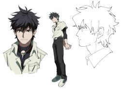 1boy, arms behind back, black hair, black pants, character sheet, commentary, english commentary, highres, jewelry, kendy (revolocities), male focus, necklace, neon genesis evangelion, pants, sachiel, school uniform, shoes, simple background, sneakers, solo, white background