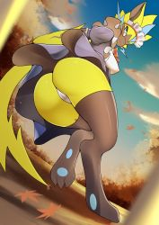 1girl, absurdres, animal ears, autumn, autumn leaves, blue eyes, body fur, breasts, cat ears, claws, creatures (company), erect nipples, from below, furry, game freak, gen 7 pokemon, glasses, highres, legendary pokemon, maid, maid headdress, mythical pokemon, nintendo, panties, paws, pokemon, slit pupils, thighhighs, umisag85rabb99, underwear, whiskers, yellow fur, zeraora