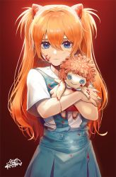 1girl, artist logo, bangs, blood, blood on face, blue eyes, breasts, closed mouth, commentary request, doll, doll hug, gradient, gradient background, hair between eyes, hair ornament, highres, holding, holding doll, horns, ki chan, long hair, looking at viewer, neck ribbon, neon genesis evangelion, object hug, orange hair, red background, red horns, red ribbon, ribbon, shirt, short sleeves, signature, skirt, solo, soryu asuka langley, suspender skirt, suspenders, two side up, white shirt