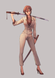 1girl, absurdres, alternate costume, breasts, brown eyes, brown hair, cleavage, collarbone, commentary, contrapposto, english commentary, formal, full body, grey background, high heels, highres, holding, holding sheath, holding sword, holding weapon, katana, large breasts, look-alike, meiko, over shoulder, pants, parted lips, red footwear, red shirt, sheath, shirt, short hair, solo, standing, striped, striped jacket, striped pants, striped suit, suit, sword, sword over shoulder, vocaloid, weapon, weapon over shoulder, white suit, yen-mi