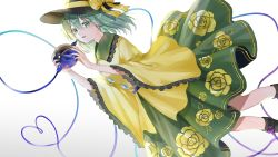 1girl, :d, bangs, black footwear, black headwear, blouse, boots, bow, dutch angle, eyeball, feet out of frame, floral print, green hair, green neckwear, green skirt, hair between eyes, hat, hat bow, highres, holding, komeiji koishi, looking at viewer, medium hair, open mouth, piyo (sqn2idm751), simple background, skirt, smile, solo, third eye, touhou, white background, wide sleeves, yellow blouse, yellow bow