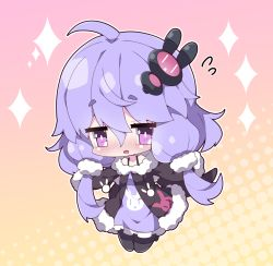 1girl, :d, ahoge, bangs, bare shoulders, black jacket, black legwear, blush, brown background, bunny hair ornament, chibi, commentary request, dress, eyebrows visible through hair, flying sweatdrops, full body, fur-trimmed jacket, fur-trimmed sleeves, fur trim, gradient, gradient background, hair between eyes, hair ornament, halftone, halftone background, jacket, long sleeves, milkpanda, nose blush, off-shoulder jacket, open mouth, pantyhose, pink background, purple dress, purple eyes, purple hair, short eyebrows, sleeveless, sleeveless dress, sleeves past fingers, sleeves past wrists, smile, solo, sparkle, thick eyebrows, voiceroid, yuzuki yukari