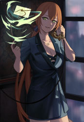 1girl, blazer, blue jacket, blue suit, breasts, cleavage, collarbone, eyebrows visible through hair, formal, girls frontline, green eyes, hair ribbon, highres, holding, holding phone, holding wand, jacket, jewelry, letter, long hair, looking at viewer, m1903 springfield (girls frontline), necklace, orange hair, phone, ponytail, ribbon, silayloe, simple background, smile, solo, standing, suit, wand, witch