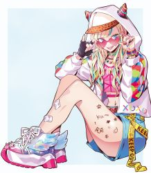 !, 1girl, :d, adjusting eyewear, animal print, aqua eyes, aqua hair, aqua nails, arrow through heart, bandaid, bandaid on leg, bangs, baseball cap, black gloves, blonde hair, blue background, blue shorts, body writing, border, bracelet, caution tape, chain necklace, choker, commentary request, crop top, fangs, fashion, fingerless gloves, fingernails, flower, gloves, gradient footwear, green nails, hat, heart, heart-shaped eyewear, highres, hood, hood up, hoodie, horned hood, jacket, jewelry, keep out, leopard print, long fingernails, long hair, long sleeves, looking at viewer, midriff, multicolored, multicolored footwear, multicolored hair, multicolored nails, nail polish, navel, necklace, open clothes, open jacket, open mouth, original, outside border, paw print, pink-tinted eyewear, pink footwear, pink hair, pink nails, platform footwear, pose, print headwear, print jacket, puppeteer7777, purple nails, rimless eyewear, shiny footwear, shirt, shoelaces, shoes, short shorts, shorts, simple background, single glove, sitting, smile, sneakers, solo, spiked choker, spiked footwear, spikes, stomach, unzipped, upper teeth, white border, white footwear, winged footwear, yellow nails