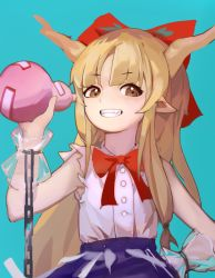 1girl, bangs, bare shoulders, blue background, blue skirt, bottle, bow, bowtie, brown eyes, buttons, chains, eyebrows visible through hair, flat chest, gourd, grin, hair bow, hand up, highres, holding, holding bottle, horns, ibuki suika, light brown hair, long hair, looking at viewer, oni horns, parted bangs, pointy ears, red bow, red neckwear, see-through, shirt, sidelocks, simple background, siyumu, skirt, sleeveless, sleeveless shirt, smile, solo, torn clothes, touhou, upper body, very long hair, white shirt, wrist guards
