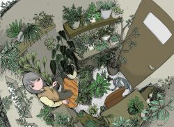1girl, black eyes, brown pants, chair, door, from above, grey hair, highres, indoors, leaf, long sleeves, looking at viewer, medium hair, no mouth, no nose, original, pants, plant, potted plant, run rurun, shadow, shelf, solo